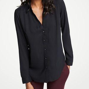 Ann Taylor Essential Button Down Blouse Black M